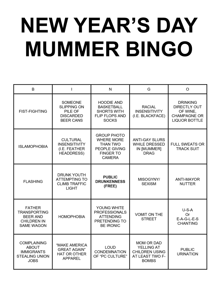 For those headed to the parade or Two Street tomorrow, I put together NYD Mummer Bingo with some help from @jon_k! https://t.co/z8JdkeXQbg