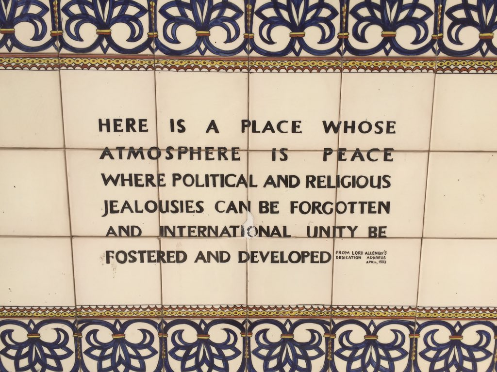 A sign outside the YMCA in Jerusalem, from Lord Allenby's Dedication address, April 1933.