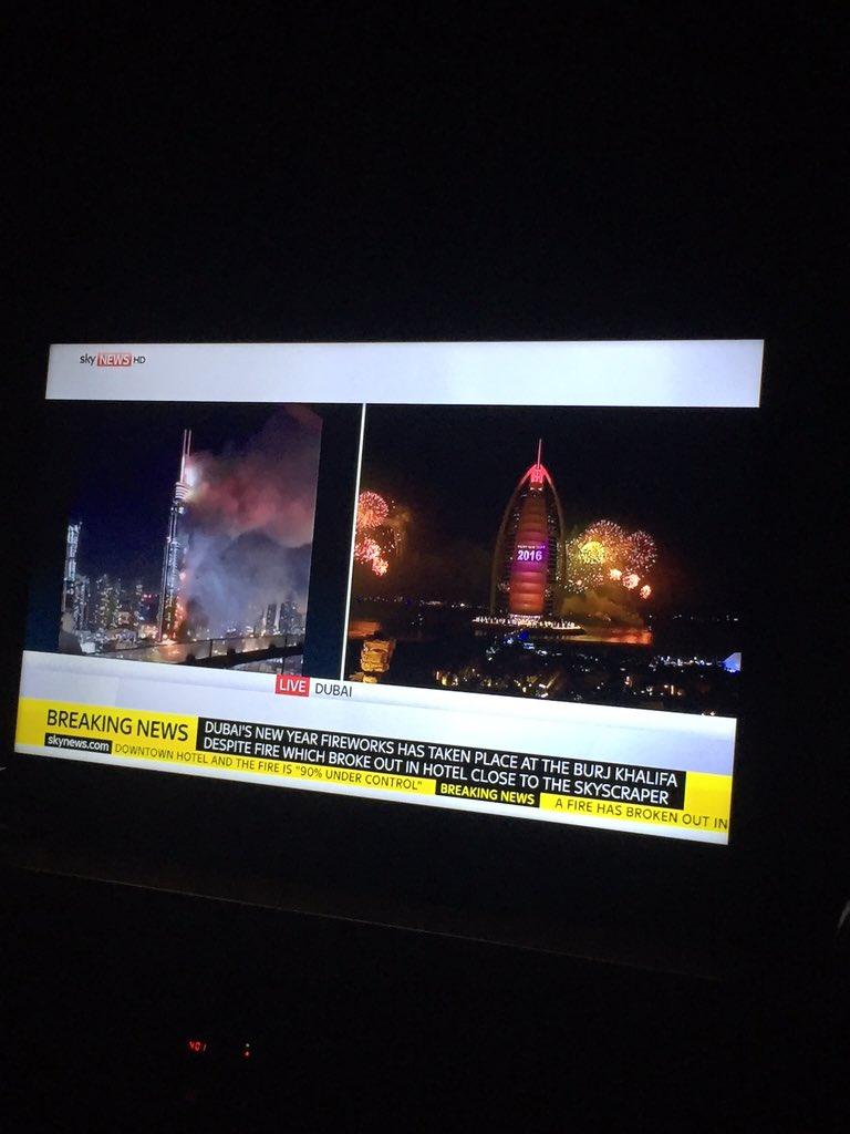 This split screen is just bizarre. While one part of #dubai burns....#dubaifire https://t.co/bt7jtkd0lk