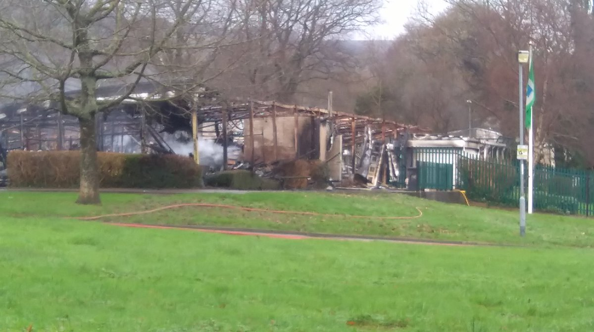 The shell left by the fire in the infants side of Coed Eva primary school in Cwmbran https://t.co/3vi9YKA4a6