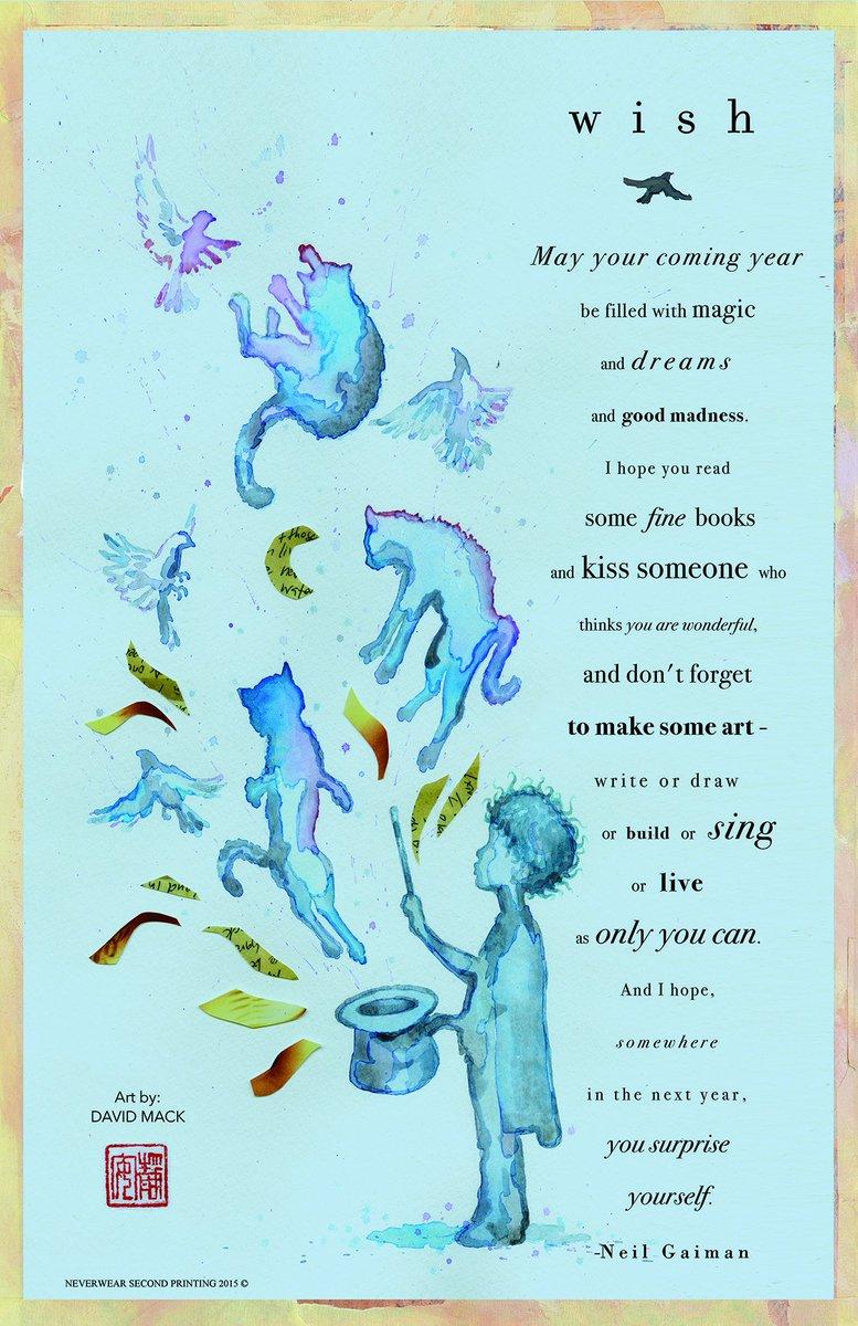 here is a New Year's Wish @neilhimself bestowed upon us, watercolor by @davidmackkabuki  https://t.co/jCG2XTWHm9 https://t.co/iRSr5EAd69