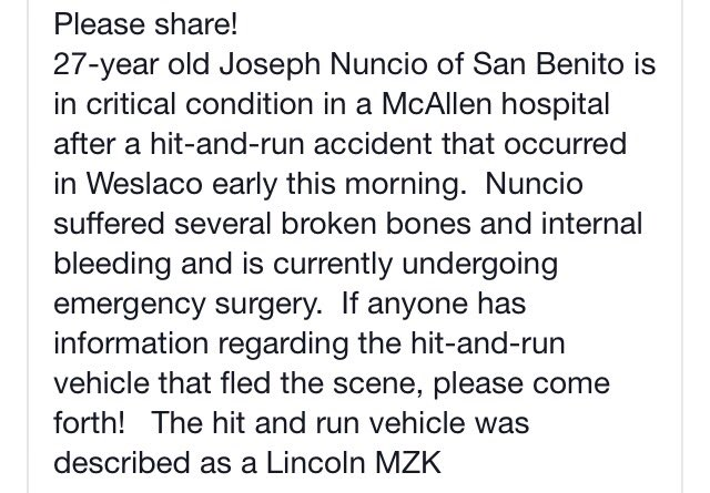 A friend who is a local artist is in the hospital after a hit & run. If you have any info, plz share. https://t.co/kwtMh1NBOj