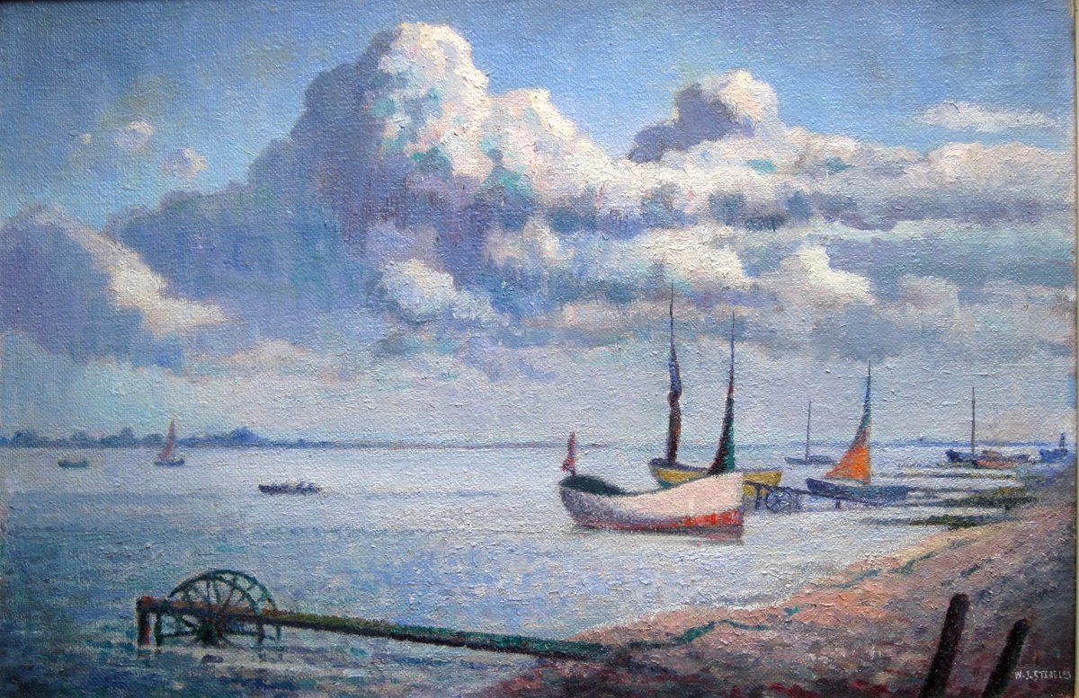 """""""@EastLondonGroup Here's Boats on the River Orwell by Walter Steggles #painting #ELG https://t.co/f0WqxQq6NI"""" Eternal summer! MT And exhibit"""