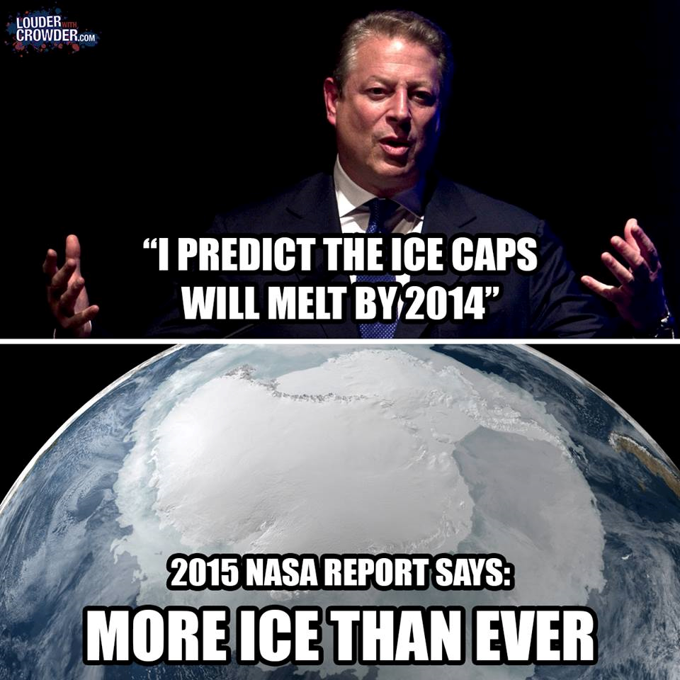 """Al Gore: """"Ice caps will melt by 2014""""  Check out the REAL #truth about #Climate change. https://t.co/TVi4cKasyK https://t.co/XNL157IwcC"""