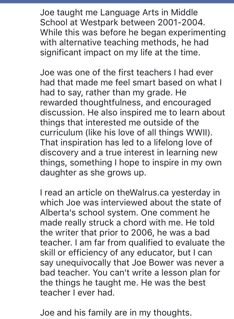 Chk out this comment to @joe_bower's fam by one of his former students. Hope he can hear or read this one day soon. https://t.co/xORPbihki7