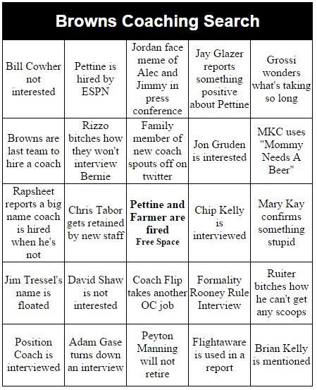 Browns Coaching Search Bingo https://t.co/1vdBoFUXp5