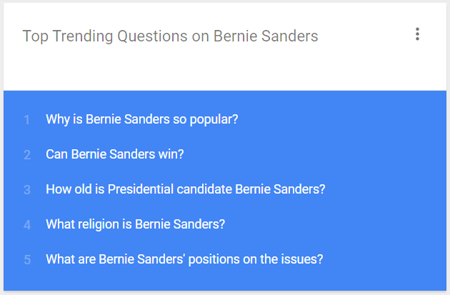 Here are the top questions users are asking about @SenSanders on @google #DemDebate #chsnews @GoogleTrends https://t.co/XEDz9dCw0t