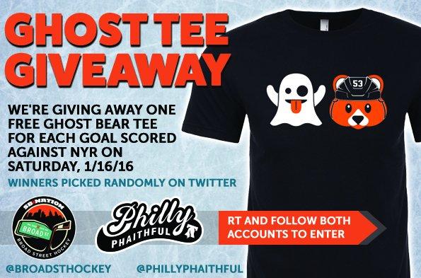 Free Ghost Bear t-shirts for every Flyer goal vs. NYR! RT to enter! Details: https://t.co/ri7WFkxumn https://t.co/5gOyGsFaDj