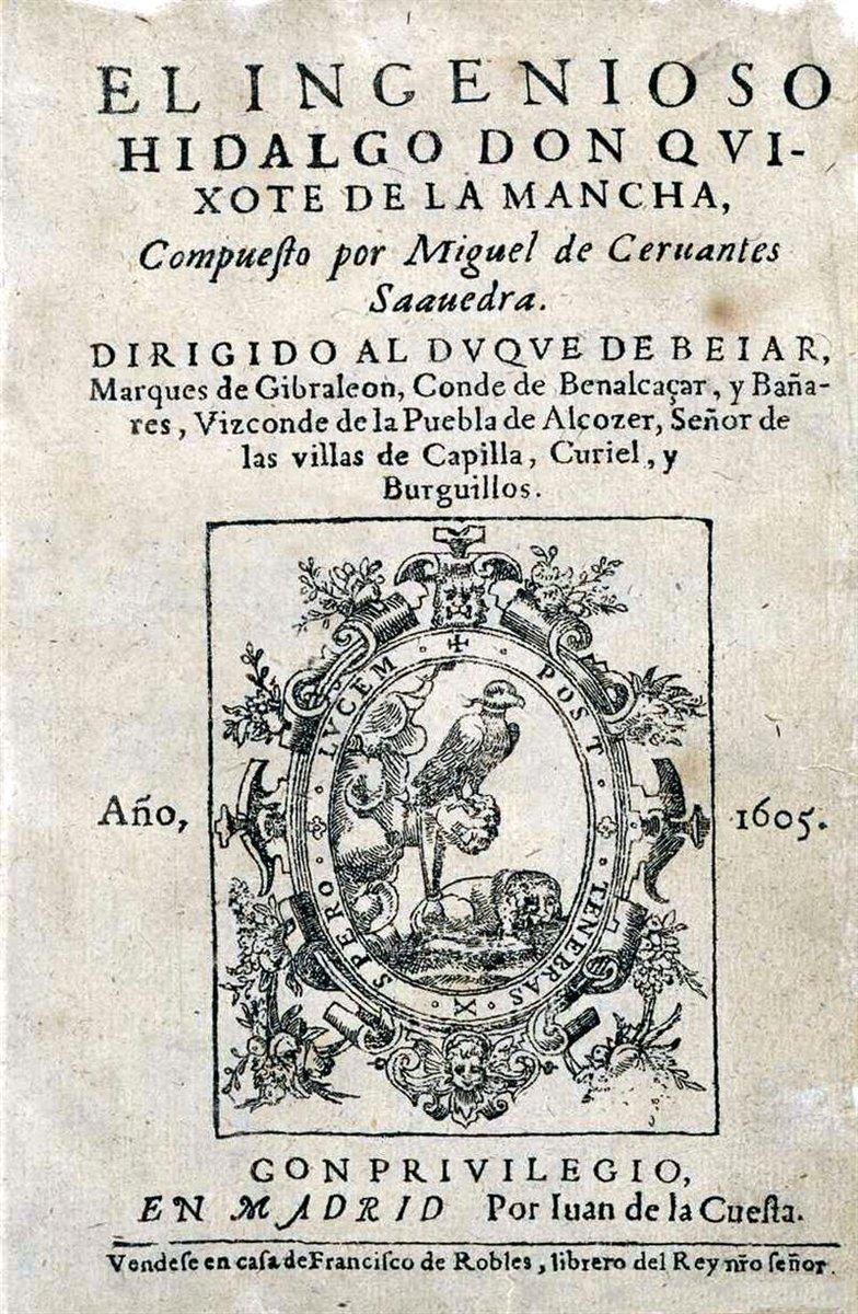 16 de enero de 1605. Se publica en Madrid «El ingenioso hidalgo don Quijote de la Mancha» https://t.co/jFs08YlhDi https://t.co/nijSNNcD3b