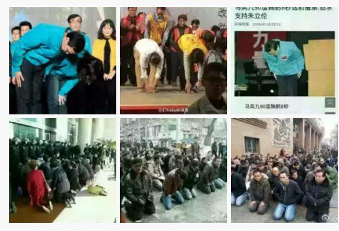 """【大選&換屆  鞠躬&下跪】上三張是台灣公民,下三張是大陸屁民。這就是有選票和沒選票之區別。藝術家吳玉仁說:""""有選票的讓權力彎腰,沒選票的自己先跪著。"""" https://t.co/K0IgkCuKkL"""