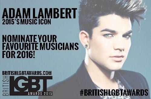 2015's music icon winner was @adamlambert! Nominated for 2016 yet? https://t.co/ariyWYcLnF @BritLGBTAwards #LGBT https://t.co/VnDxlR0nUq
