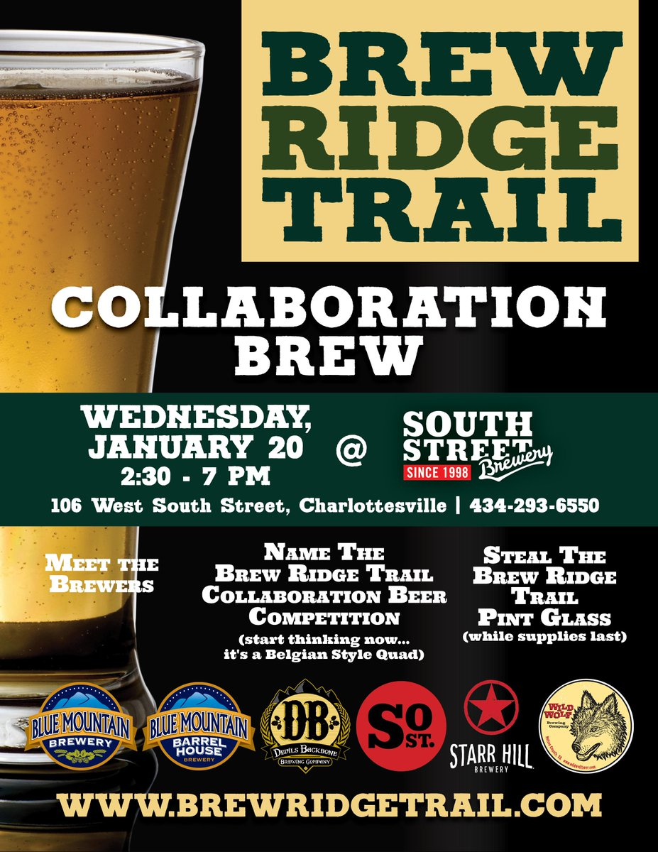 The @BrewRidgeTrail Collab Brew Party is Wed 1/20 @SouthStBrewery in #Cville. Meet the BRT brewers & share a pint https://t.co/jm4PRo05ZM