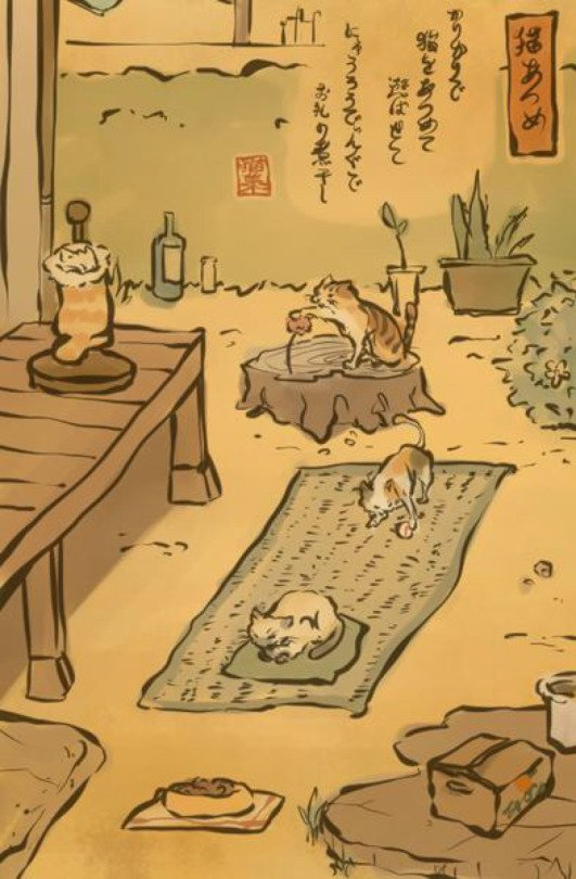 """The mobile game Neko Atsume (""""Cat Collection"""") in the style of a Japanese print. Source: https://t.co/axKFfG8C1V https://t.co/90KQedsvui"""