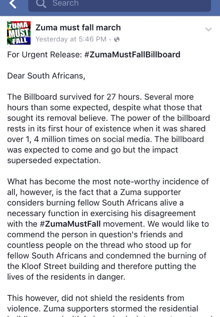 This round goes to the #ZumaMustFall movement. A trap was laid & the ANC fell for it hook, line & sinker. https://t.co/zsNen7KJYg