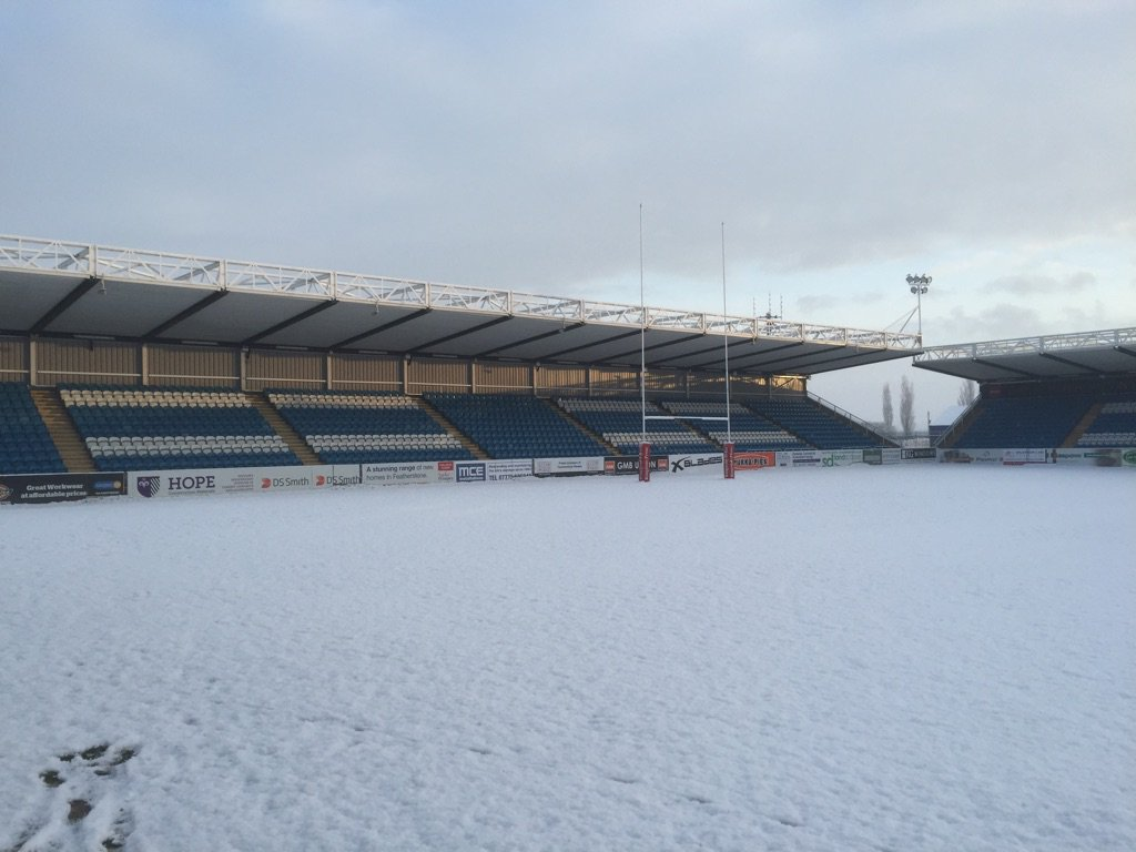 The pitch at Featherstone this morning.. Game off. Spread the word. https://t.co/fLKO3A32bR