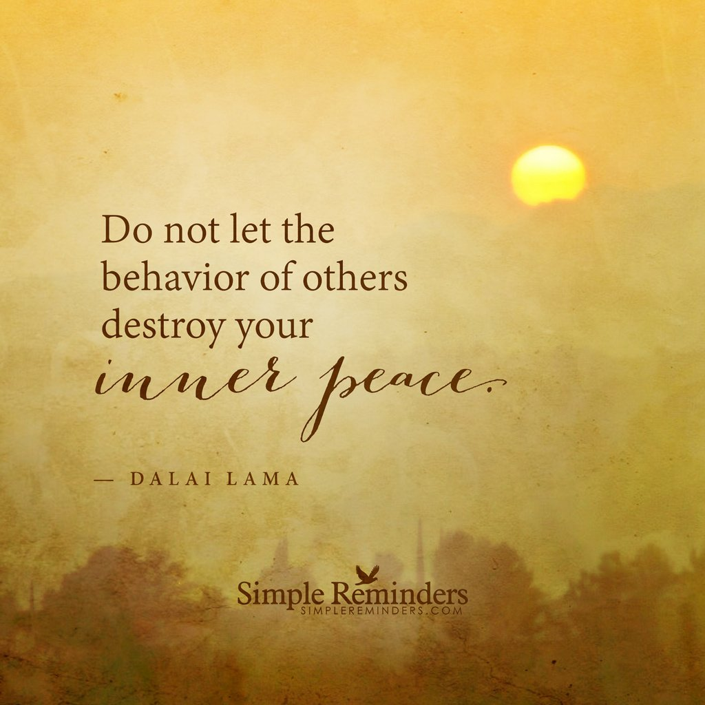 Do not let the behavior of others destroy your inner peace. — Dalai Lama https://t.co/GLWWj8JQjy