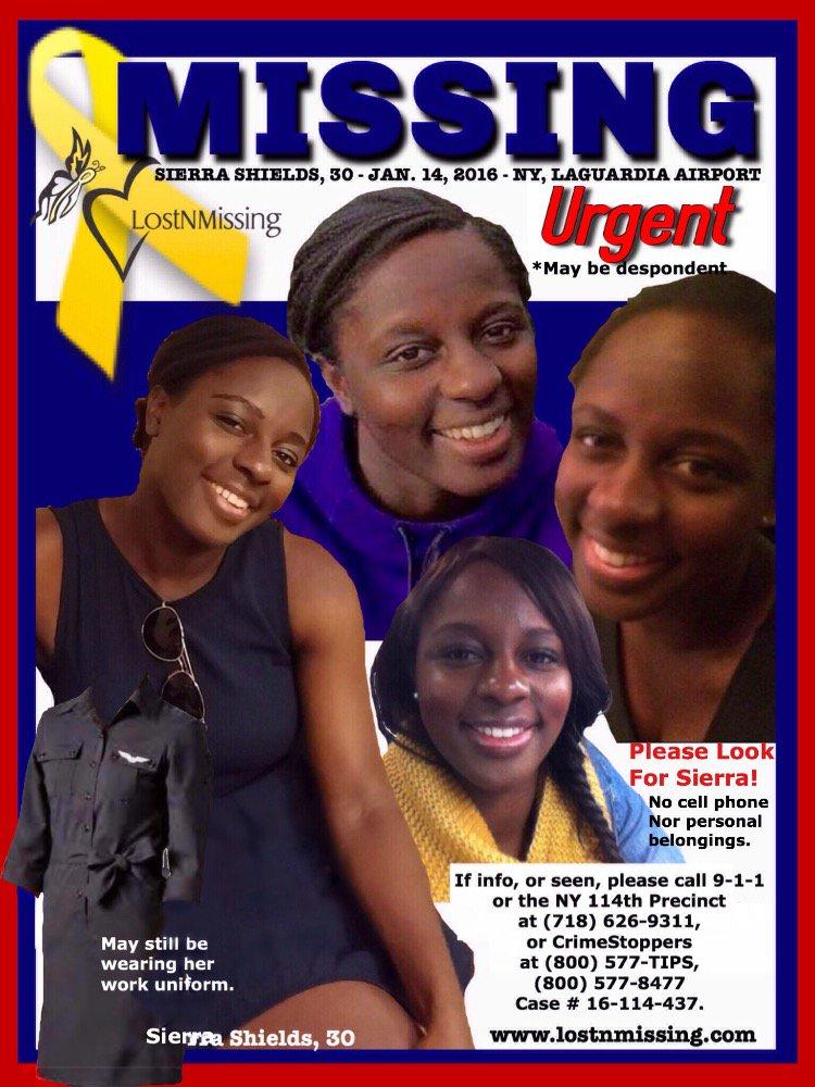 Urgent Missing, Flight Attendant despondent - LaGuardia (NY) Sierra Shields, 30 https://t.co/etu7TS1mJv