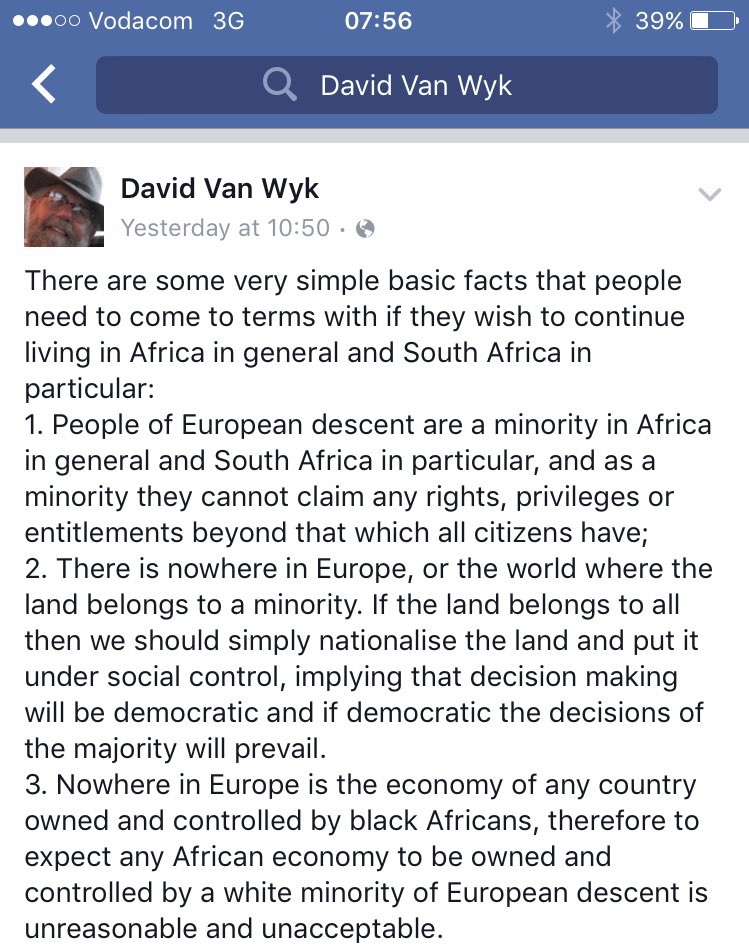 From a fellow white South African to other white South Africans. Powerful. https://t.co/QDO5tl7lJB