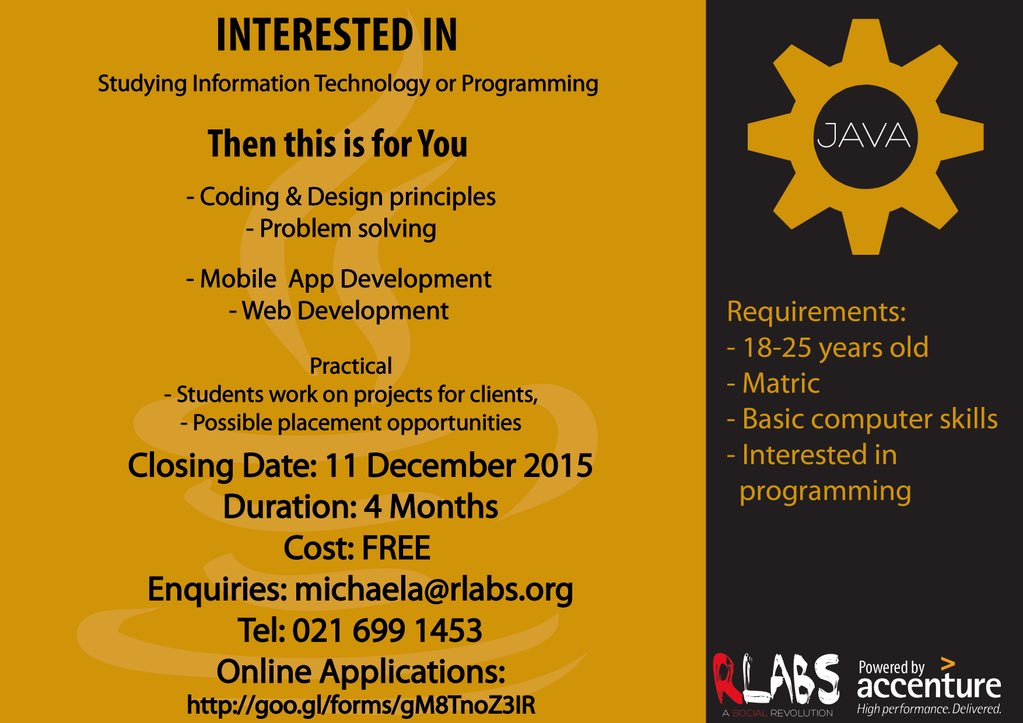 Great opportunity for Matriculants who want to learn how to code. FREE course offered by @RLabs in @CapeTown https://t.co/hf7yytmqQX