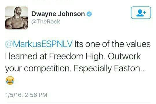 Even The Rock picks on Easton. Sheesh. https://t.co/jyNoK1KBTt
