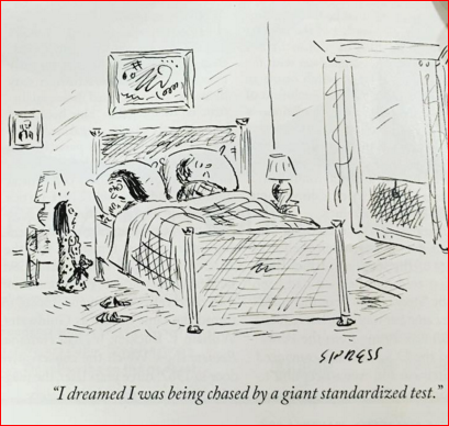 """I dreamed I was being chased by a giant standardized test."" New Yorker cartoon via @jessicalustic https://t.co/Cg1wlpCUhG"
