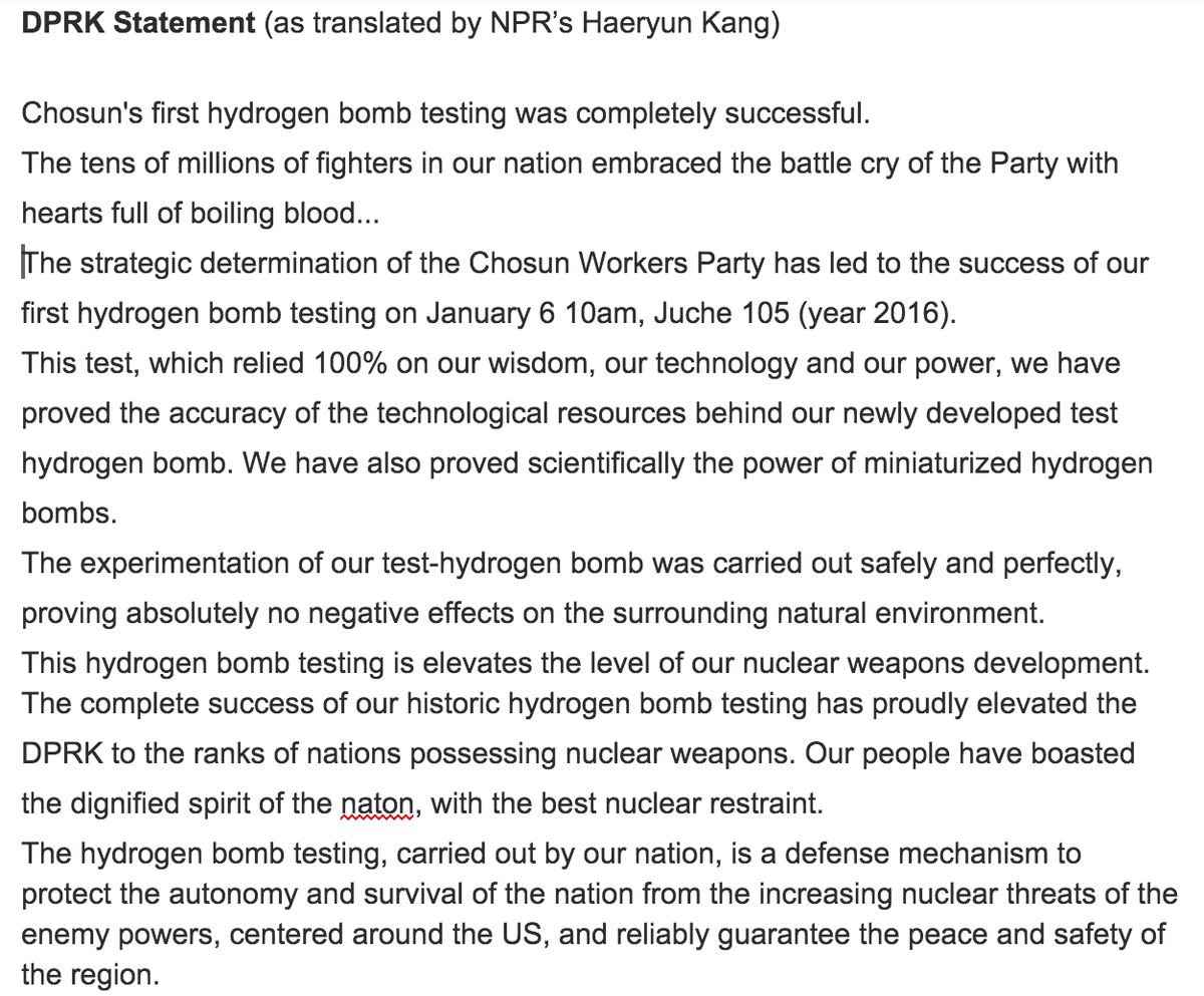 The #northkorea H-bomb claim in English, as translated by my asst, @NPR's @Haekoko: https://t.co/58KcBg1Dva