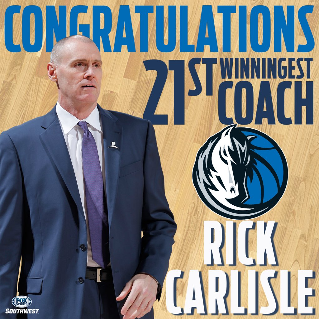 With tonight's victory, head coach of @dallasmavs, Rick Carlisle becomes @NBA 21st winningest coach with 639 wins!