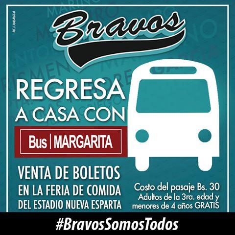 Hoy a apoyar a los #BravosDeMargarita en el estadio Nueva Esparta, y el regreso a casa es con @BusMargaritaNE.. https://t.co/DUs0TL78iI