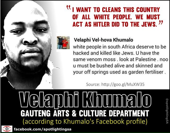 Respect to @SpotlightingSA for exposing racist @MyANC_ member #VelaphiKhumalo . Will #ANC take action? @zizikodwa https://t.co/aqLNGUc7rM