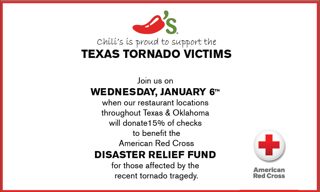 Trying to decide on lunch? All .@Chilis locations in TX & OK are supporting the #RedCross & Disaster Relief today! https://t.co/zWX6uEWg5x