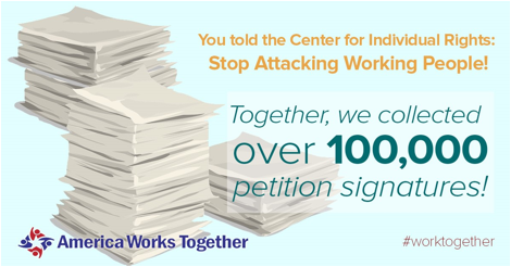 Wealthy special interests want to silence U.S. workers in #Friedrichs. 100K say enough is enough! @amworkstogether https://t.co/y7vBDa1oNV