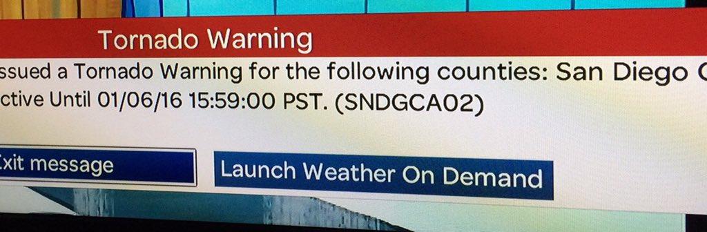 ‼️Weather Alert‼️ ALERT: TORNADO WARNING  La Jolla, Torrey Pines, Miramar, Sorrento Valley.  ❗️TAKE SHELTER NOW❗️ https://t.co/SQQX5rIVZM