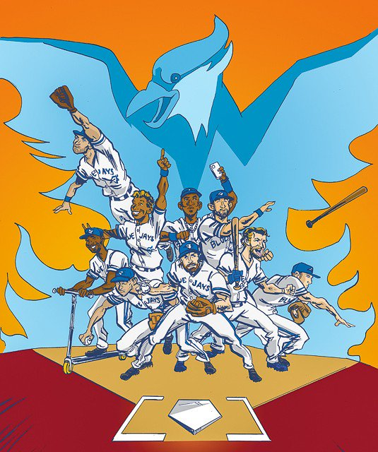 This awesome #BlueJays illustration is from the @torontoist Heros post! Lookit @JoeyBats19 @MStrooo6 @KPILLAR4 https://t.co/gqQVrRnLaM