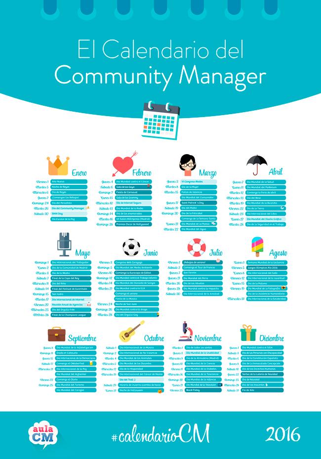 El Calendario del Community Manager y Social Media 2016. Puedes descargarlo aquí https://t.co/upVh8g8Gcc vía @aulacm https://t.co/g6NNxPkatj