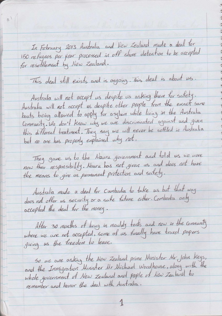 Refugees on #Nauru have written a letter to @johnkeypm and @WoodhouseMP asking to be resettled in New Zealand https://t.co/92S1G24nlH