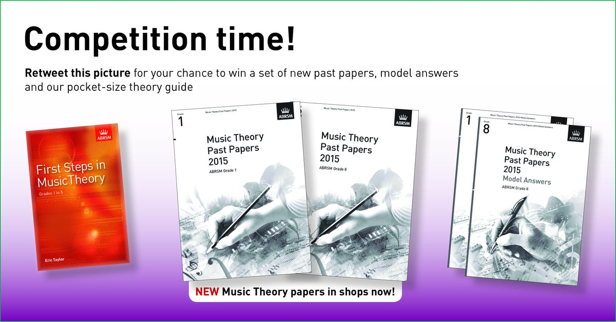 Retweet to win a set of 2015 Music Theory papers, model answers & a theory guide! Before midnight!  #abrsmwin https://t.co/7XfrmYzYml