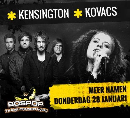Eerste namen Bospop zijn bekend! Niemand minder dan @kensingtonband & @kovacs_music zijn erbij in juli! https://t.co/rJwUVN63Mf