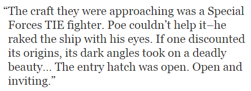 does Poe Dameron want to fuck a TIE fighter? https://t.co/e8L9zFrVWD (quote is from The Force Awakens novelization) https://t.co/thF64lJjZR