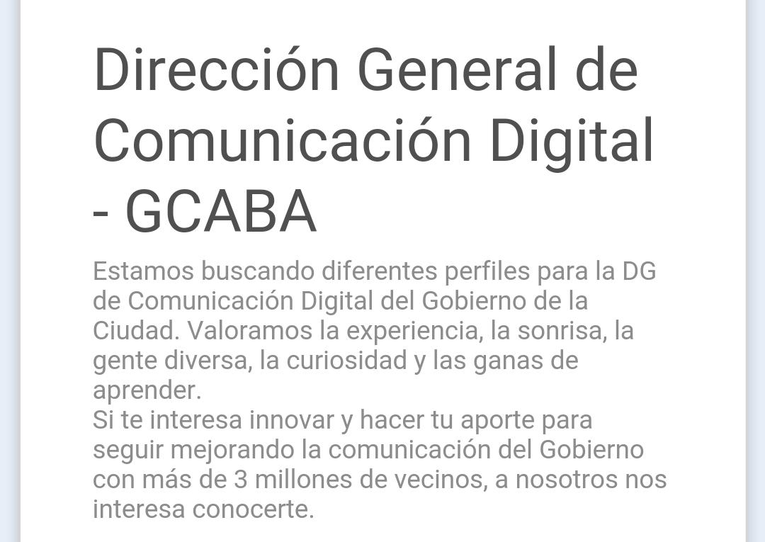 En @GCBA están buscando perfiles digitales. Si te interesa trabajar en gob. mirá. #TrabajoAr https://t.co/p1I26IE9VK https://t.co/1HiMtmCLjo