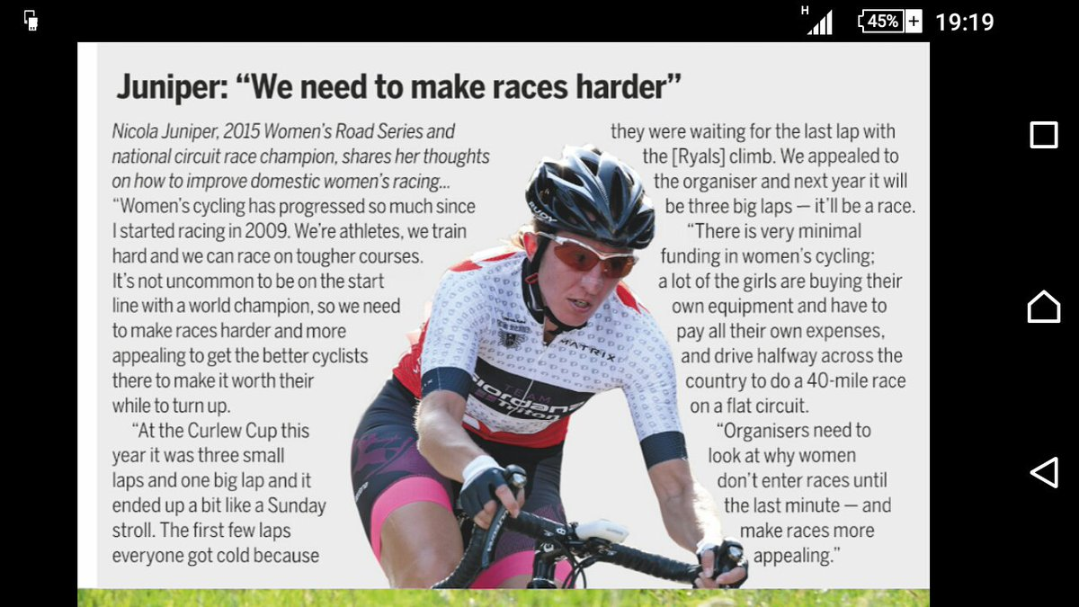 Neat comment from @junipernikki in this week's @cyclingweekly https://t.co/5ogoOofMaK