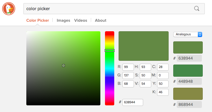 Just learned that typing 'color picker' in to @duckduckgo brings up ... a color picker!! Another reason I love ddg. https://t.co/gnZlI5niUq
