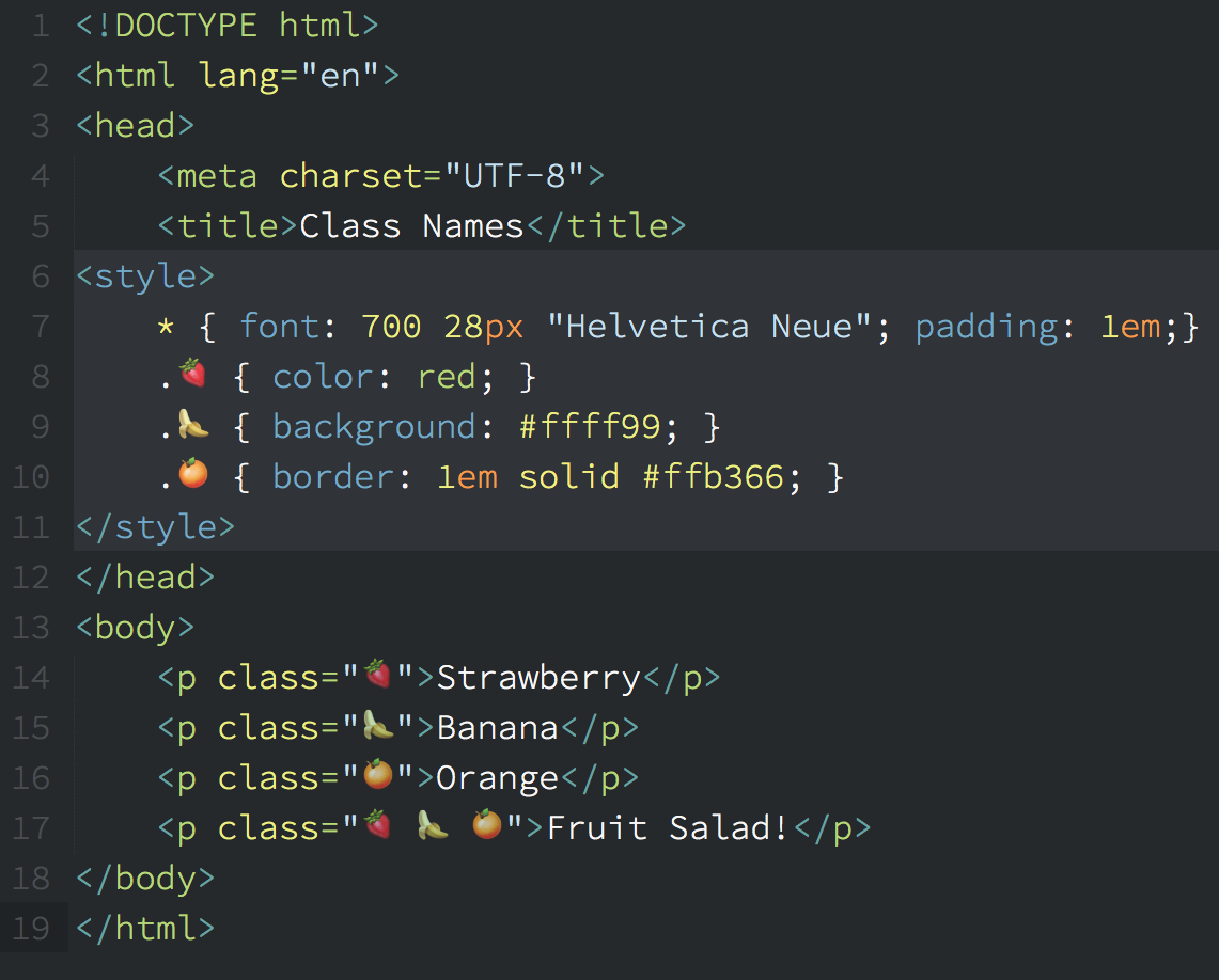 Just discovered that you can use emojis/unicode for Class/ID names in your CSS and HTML: https://t.co/d1ACkeGIQK https://t.co/igk50i0IED