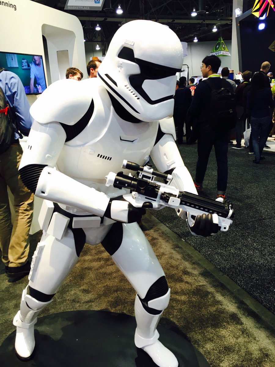 The force is strong w/ 3DSystems printers. They 3D printed this incredibly detailed stormtrooper @starwars #ces2016 https://t.co/BsDSp17K9Z