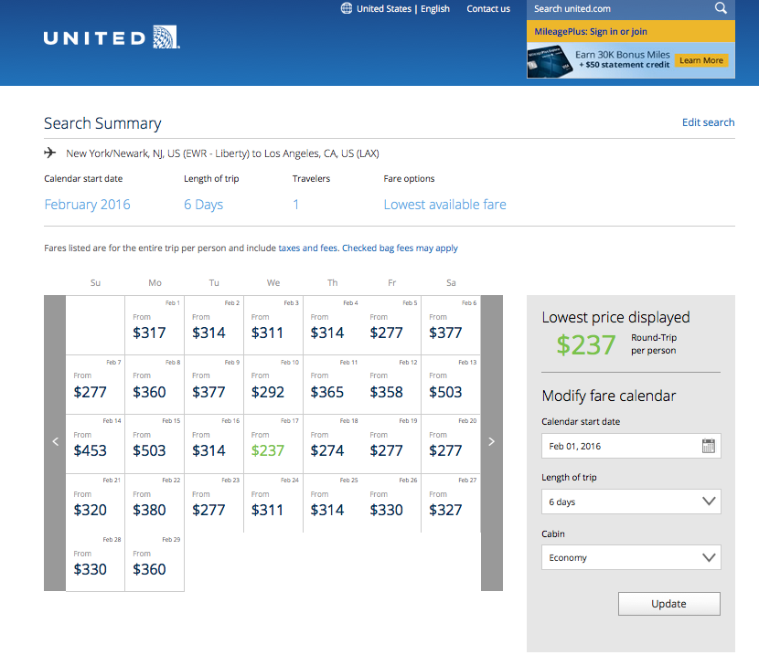 RT @airfarewatchdog: Newark-LAX on UA nonstops for 4 and 6 night stays in Feb $237 RT