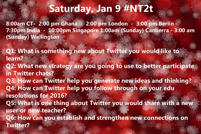 Just 30 min until first #NT2t of 2016! Grab ur coffee & come connct globally! Plz RT (global times on pic) #satchat https://t.co/GcrcTVYRlp