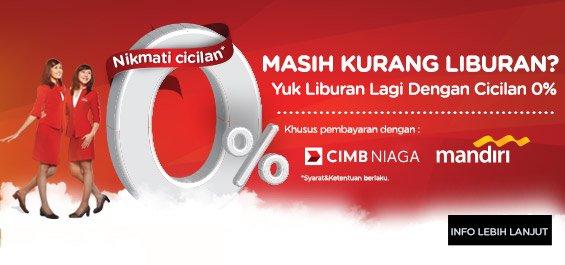 Pengguna kartu kredit CIMB Niaga AirAsia BIG & Kartu Kredit Mandiri bs nikmati cicilan 0% di