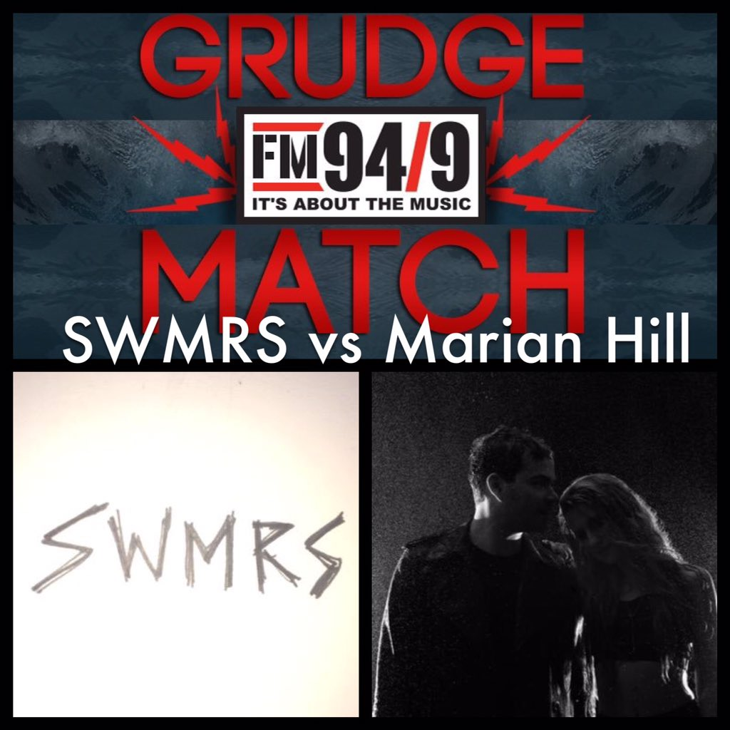 """Tonight's #1010GrudgeMatch RT for @swmrsca_ """"Figuring It Out"""" or LIKE for @MarianHillMusic """"One Time"""" https://t.co/I8BkHTIx5L"""