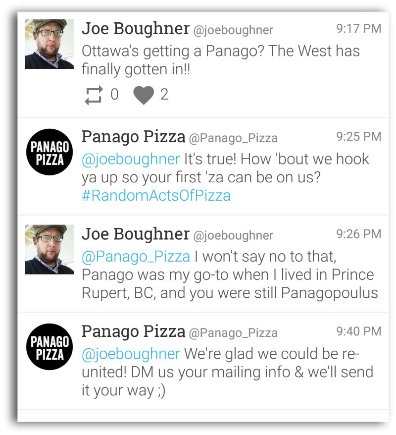 .@joeboughner mentions Panago W/O tagging them. @Panago_Pizza offers him free pizza 8 mins later. #ThisIsHowYouDoIt https://t.co/Ceq5RzLGrd