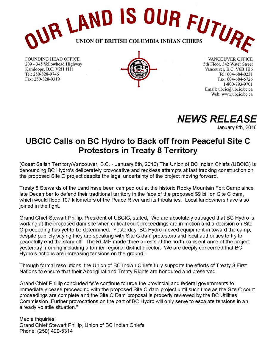 NR: @UBCIC Calls on @bchydro to Back off from Peaceful #SiteC Protestors in #Treaty8 Territory. #cdnpoli #bcpoli https://t.co/UqMUMF2KeQ