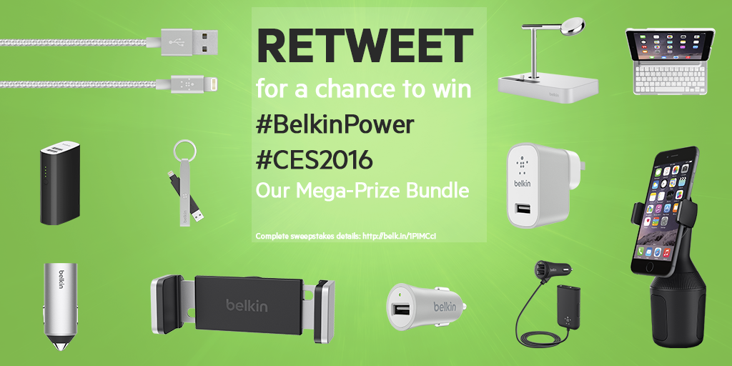 Retweet for a chance to win our #BelkinPower #CES2016 Mega-Prize Bundle! https://t.co/iRqplsWGDc